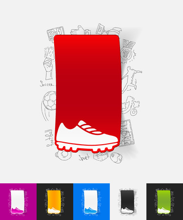 keds: hand drawn simple elements with sneakers paper sticker shadow