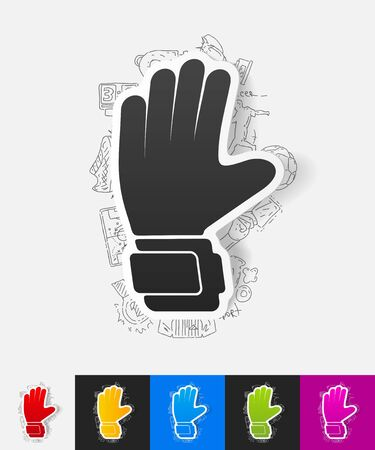 leather goods: hand drawn simple elements with gloves paper sticker shadow Illustration