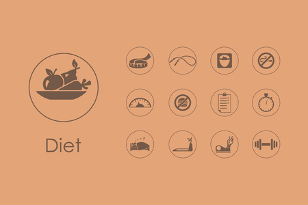 It is a set of diet simple web icons Illustration