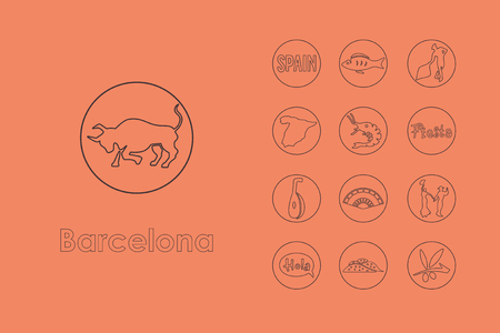 catalonia: It is a set of Barcelona simple web icons Illustration