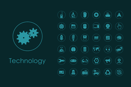 corporate social: It is a set of technology simple web icons Illustration