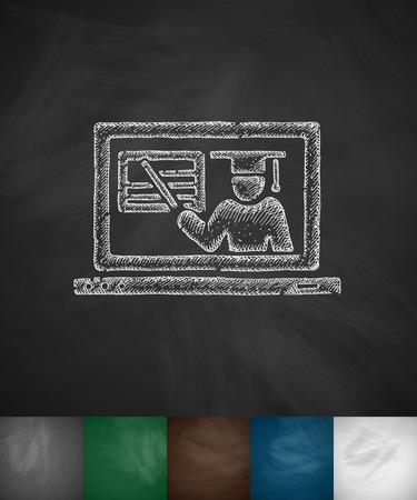 online webinar icon. Hand drawn vector illustration. Chalkboard Design Illustration