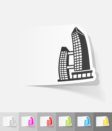 singapore building paper sticker with shadow. Vector illustration