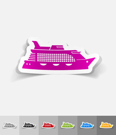 titanic: cruise ship paper sticker with shadow. Vector illustration