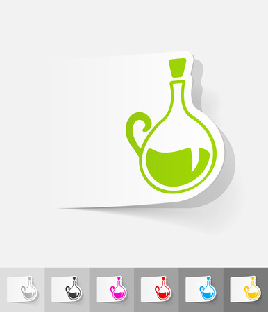 decanter: decanter paper sticker with shadow. Vector illustration Illustration