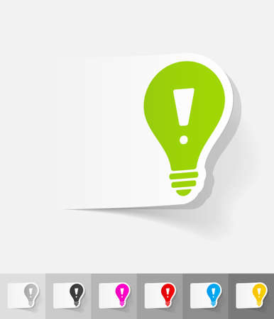 incarnation: light bulb with an exclamation mark paper sticker with shadow. Vector illustration Illustration