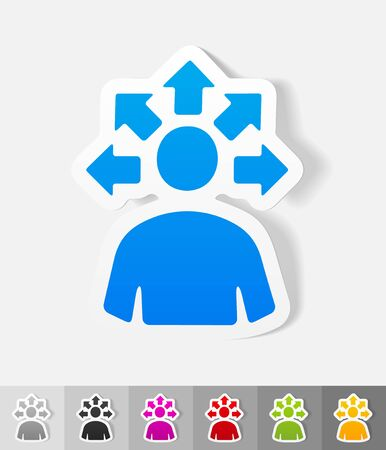 versatile: versatile idea paper sticker with shadow. Vector illustration