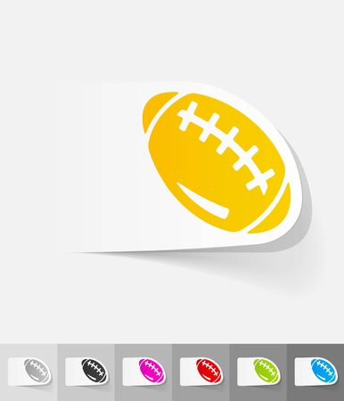 rugby field: rugby ball paper sticker with shadow. Vector illustration