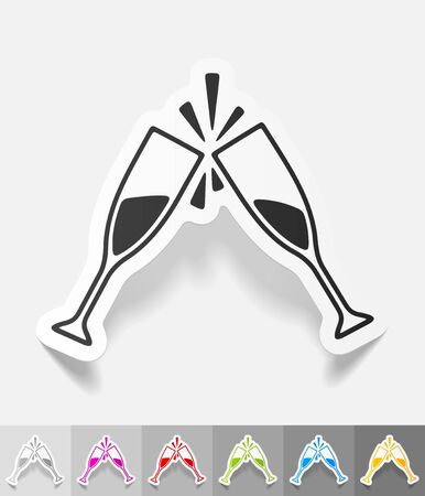 litre: two glasses paper sticker with shadow. Vector illustration