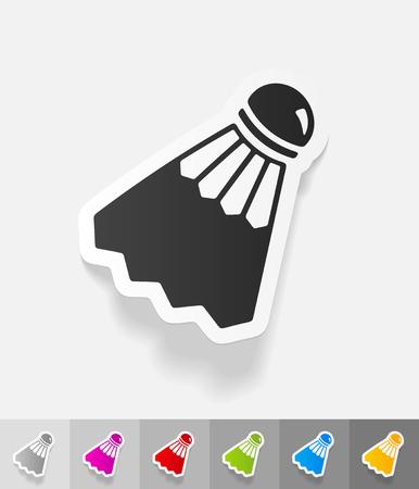 symbol sport: shuttlecock Papieraufkleber mit Schatten. Vektor-Illustration
