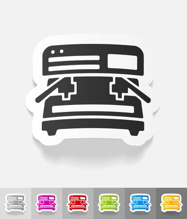 soluble: coffee machine paper sticker with shadow. Vector illustration Illustration