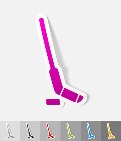 hockey: hockey stick and puck paper sticker with shadow. Vector illustration Stock Photo