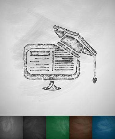 e-learning icon. Hand drawn vector illustration. Chalkboard Design
