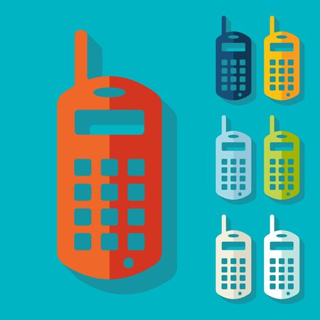 old phone: Flat design: old mobile phone