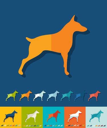 doberman: doberman icon in flat design with long shadows. Vector illustration