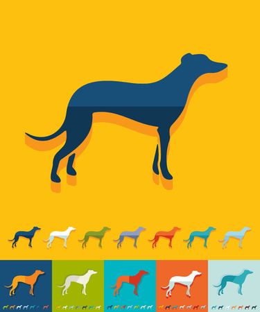 greyhound: greyhound icon in flat design with long shadows. Vector illustration