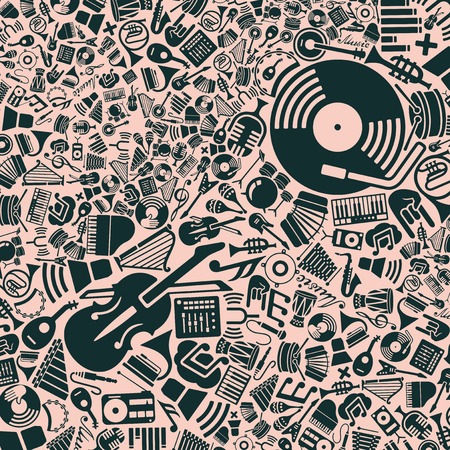 choir: vector background of the flat music icons