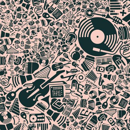 coro: vector de fondo de los iconos de la música planas