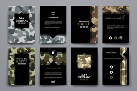 Set of brochure, poster templates in veterans day style. Beautiful design and layout Imagens - 47532922