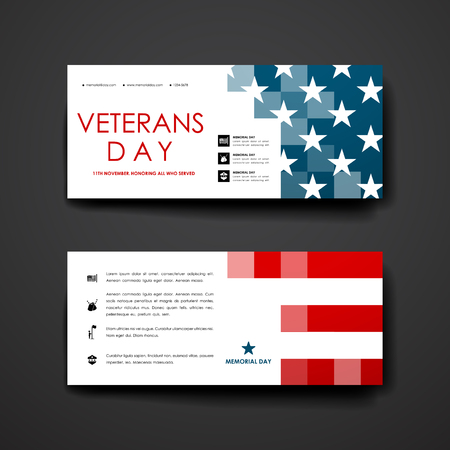 veterans: Set of modern design banner template in veterans day style. Beautiful design and layout