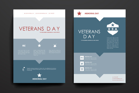 layout template: Set of brochure, poster templates in veterans day style. Beautiful design and layout