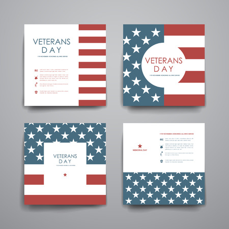 banner background: Set of brochure, poster templates in veterans day style. Beautiful design and layout
