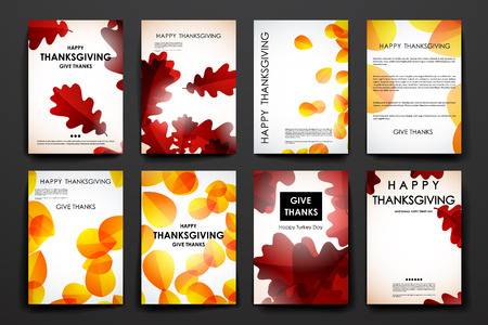book cover: Set of brochure, poster templates in autumn style. Beautiful design and layout Illustration