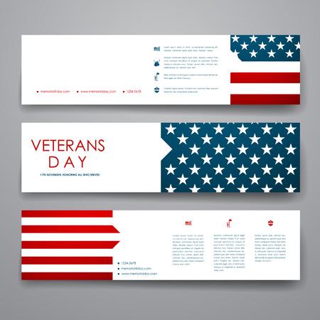 conflicto: Conjunto de moderno plantilla de banner de diseño en los veteranos de estilo días. Hermoso diseño y el diseño Vectores