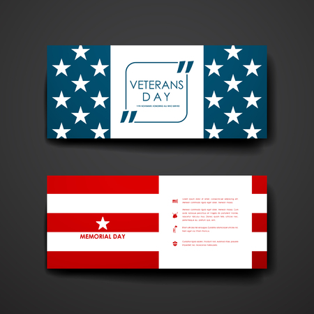 veterans day: Set of modern design banner template in veterans day style. Beautiful design and layout
