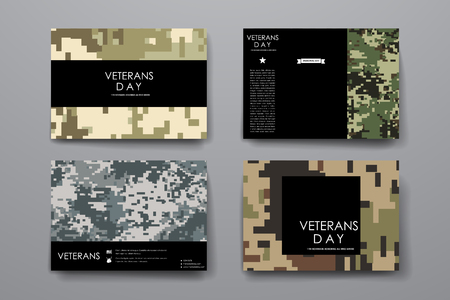army: Set of brochure, poster templates in veterans day style. Beautiful design and layout