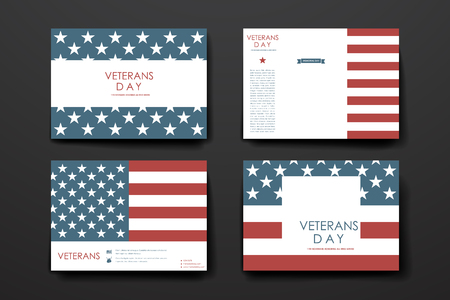 day book: Set of brochure, poster templates in veterans day style. Beautiful design and layout