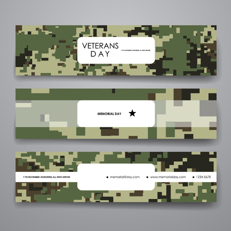 veteran: Set of modern design banner template in veterans day style. Beautiful design and layout