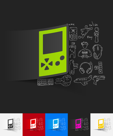 video game: hand drawn simple elements with video game paper sticker shadow