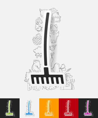 outdoor goods: hand drawn simple elements with rake paper sticker shadow