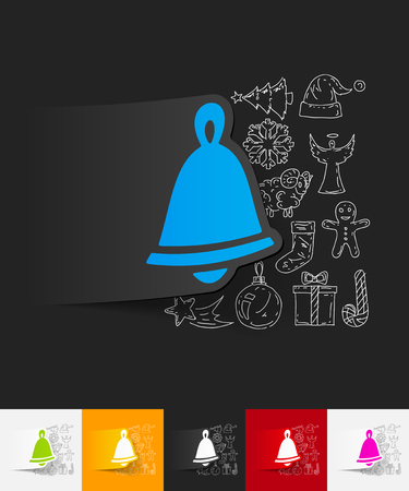 christmas bell: hand drawn simple elements with christmas bell paper sticker shadow