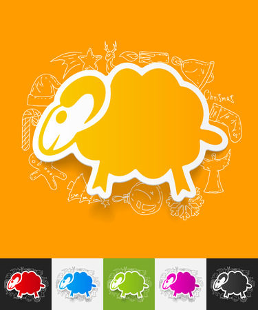 sheep sign: hand drawn simple elements with sheep paper sticker shadow Illustration