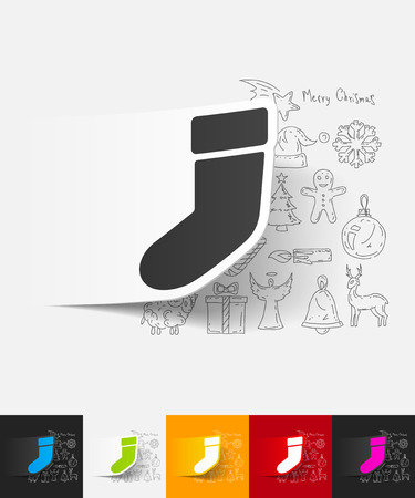 christmas sock: hand drawn simple elements with christmas sock paper sticker shadow Illustration