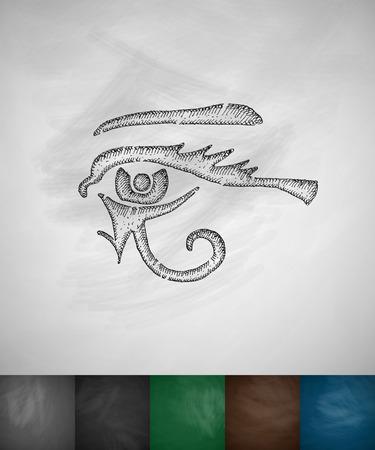 ojo de horus: ojo de Horus icono. Dibujado a mano ilustraci�n vectorial. Pizarra Dise�o