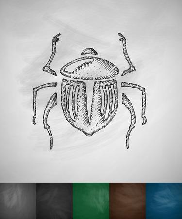 scarab: scarab icon. Hand drawn vector illustration. Chalkboard Design
