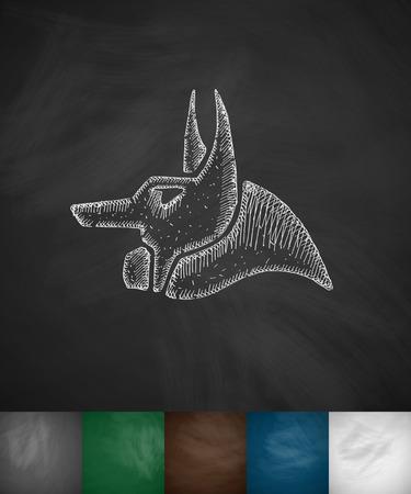 anubis: Anubis icon. Hand drawn vector illustration. Chalkboard Design Illustration
