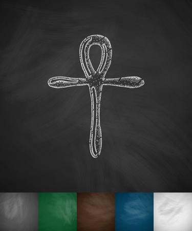 ankh cross: Coptic Cross Ankh icon. Hand drawn vector illustration. Chalkboard Design