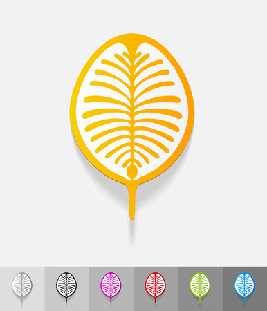 archipelago: palm Jebel Ali paper sticker with shadow. Vector illustration