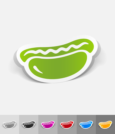 hot dog paper sticker with shadow. Vector illustration