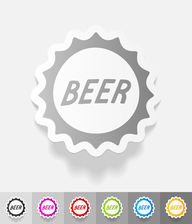 bottle cap paper sticker with shadow. Vector illustration