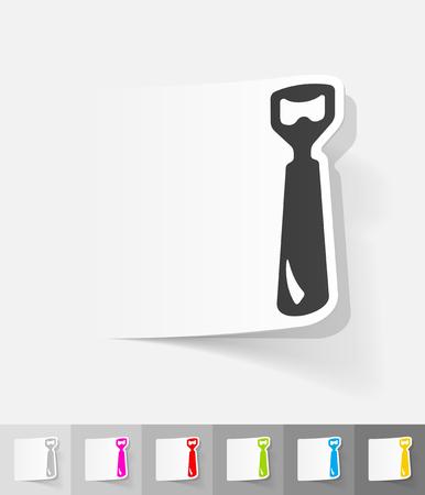 オープナー: opener paper sticker with shadow. Vector illustration  イラスト・ベクター素材