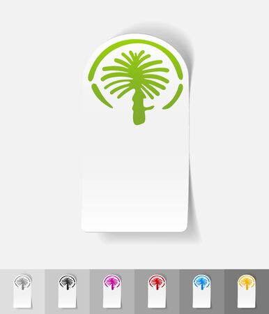 artificially: palm Jumeirah paper sticker with shadow. Vector illustration
