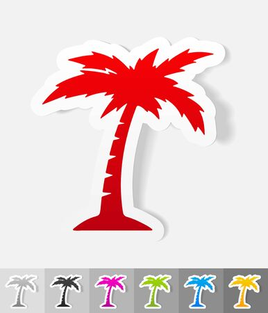 insular: palm paper sticker with shadow. Vector illustration Illustration