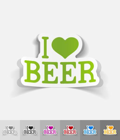 litre: I love beer paper sticker with shadow. Vector illustration Illustration