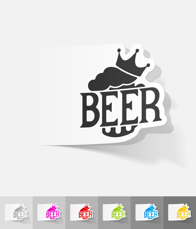 litre: king beer paper sticker with shadow. Vector illustration Illustration
