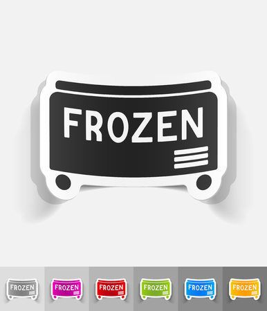 freezer: freezer paper sticker with shadow. Vector illustration